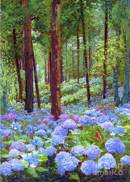 Birches Painting - Endless Summer Blue Hydrangeas by Jane Small