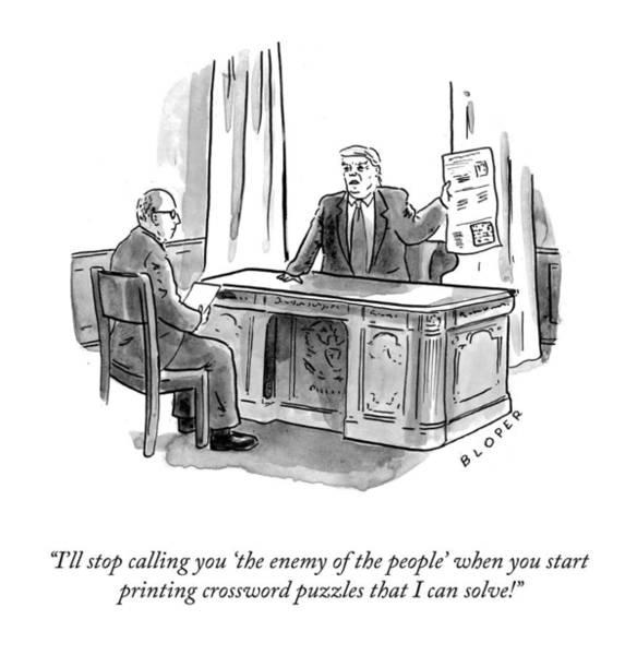 Social Media Drawing - Enemy Of The People by Brendan Loper