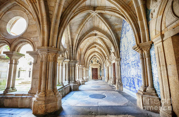 Photograph - enfilade of cathedral cloister Se, Porto, Portugal by Ariadna De Raadt
