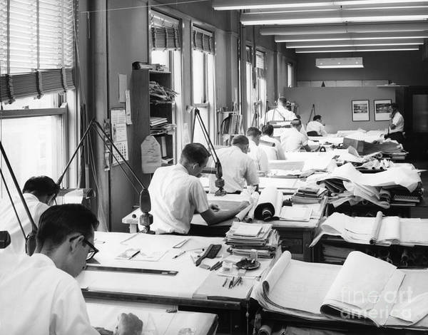 Drafting Photograph - Engineers At Drafting Tables, C.1960s by H. Armstrong Roberts/ClassicStock