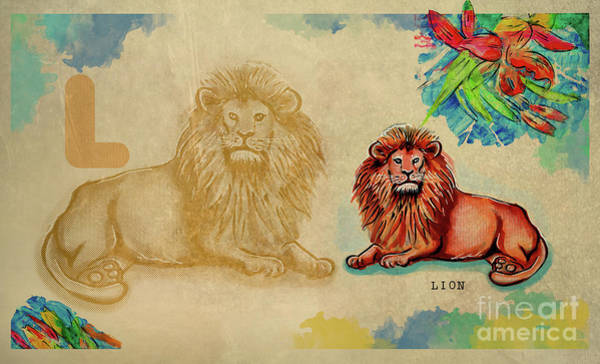 Drawing - English Alphabet , Lion by Ariadna De Raadt