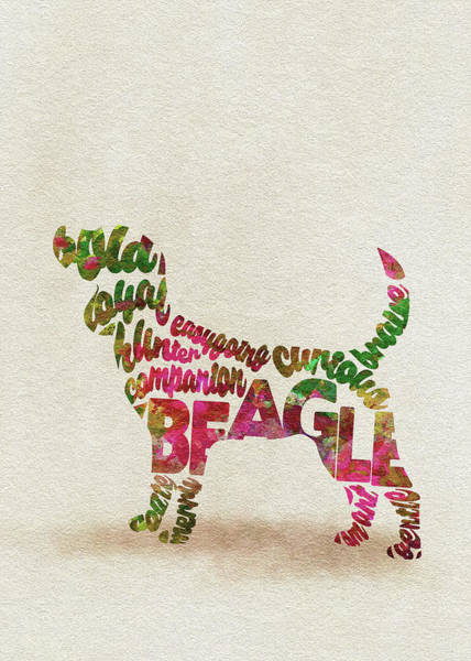 Painting - English Beagle Watercolor Painting / Typographic Art by Inspirowl Design