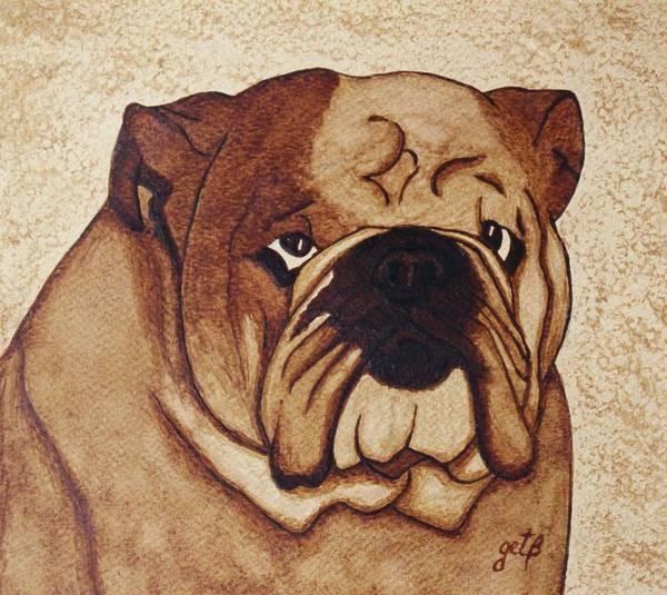 English Bulldog Painting - English Bulldog Coffee Painting by Georgeta  Blanaru