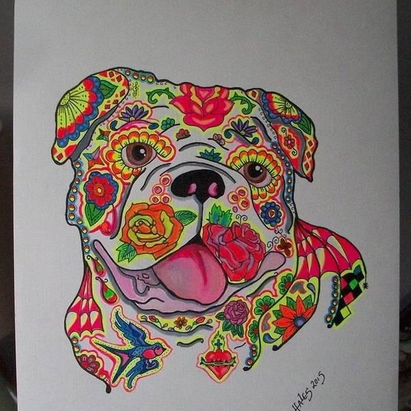 English Bulldog Painting - English Bulldog Sugar Skull/ Tattoo Style  by Teresa Hales
