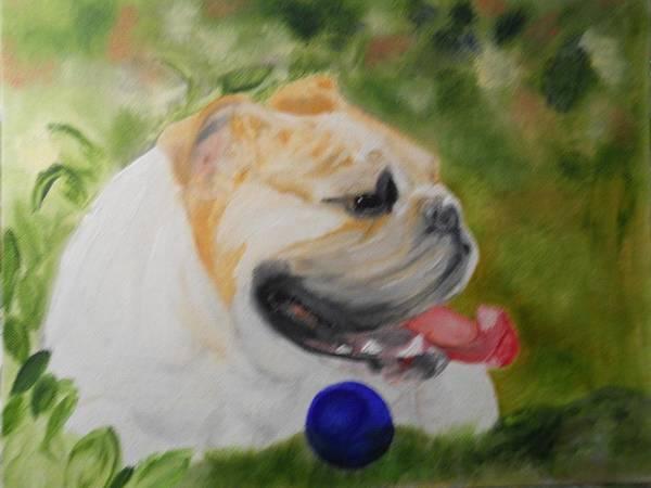 English Bulldog Painting - English Bulldog With Ball by Joette Watson