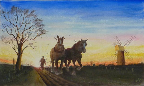 Ploughing Painting - English Early Start by David Godbolt
