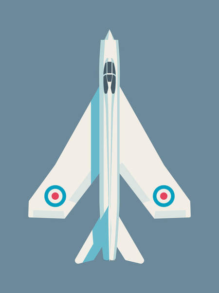 Electric Wall Art - Digital Art - English Electric Lightning Fighter Jet Aircraft - Slate by Ivan Krpan