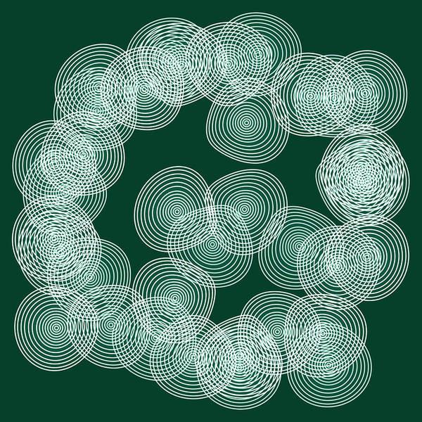 Wall Art - Painting - English Green Abstract Circles Square by Frank Tschakert