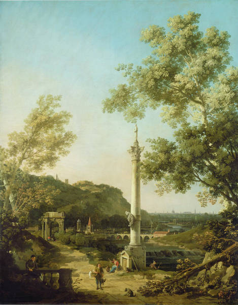 Painting - English Landscape Capriccio With A Column by Canaletto