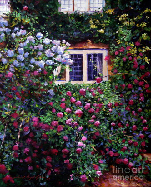 English Manor House Roses Art Print by David Lloyd Glover