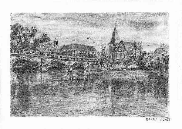 Drawing - English River Town by Barry Jones