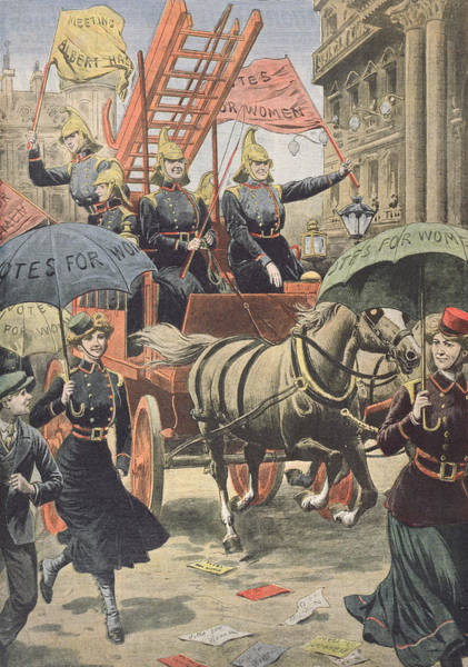 Cart Drawing - English Suffragettes Dressed As Firemen by French School
