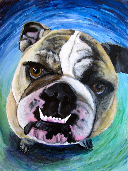 English Bulldog Painting - english Tito by Lucy Wightman