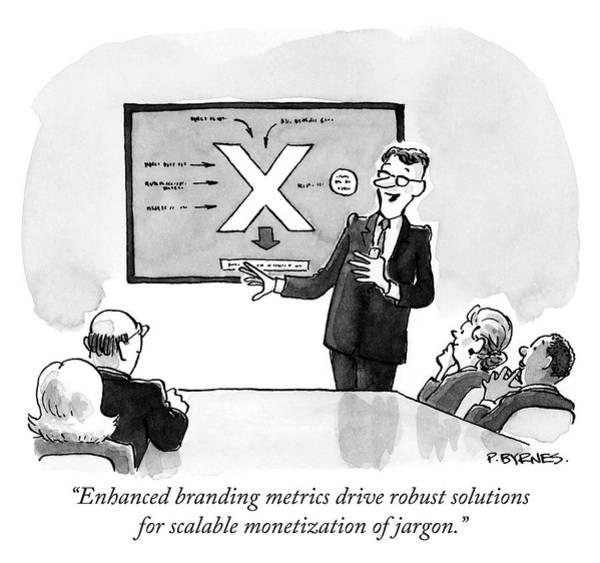 Meetings Drawing - Enhanced Branding Metrics by Pat Byrnes