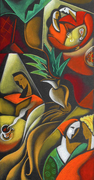 Wall Art - Painting - Enjoying Food And Drink by Leon Zernitsky
