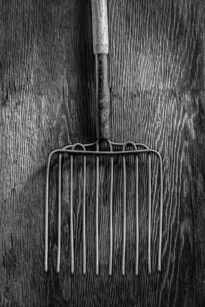 Wall Art - Photograph - Ensilage Fork Up On Plywood In Bw 66 by YoPedro