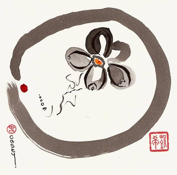 Sumi Wall Art - Painting - Enso Aven by Casey Shannon
