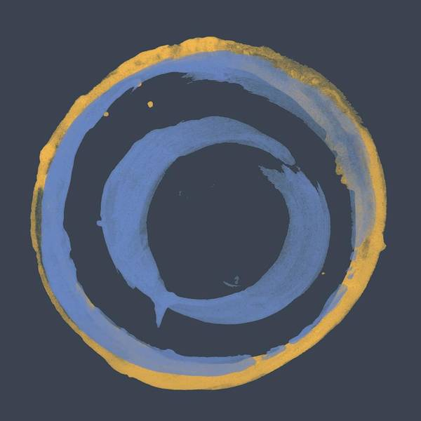 Wall Art - Painting - Enso T Blue Orange by Julie Niemela