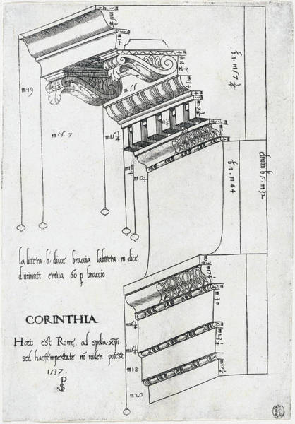 Drawing - Entablature From The Basilica Ulpia by Master PS