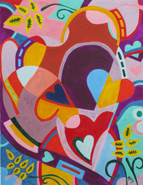 Entangled Painting - Entangled Hearts by Molly Williams
