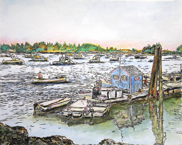 Drawing - Entering Vinal Haven, Maine by Michele A Loftus