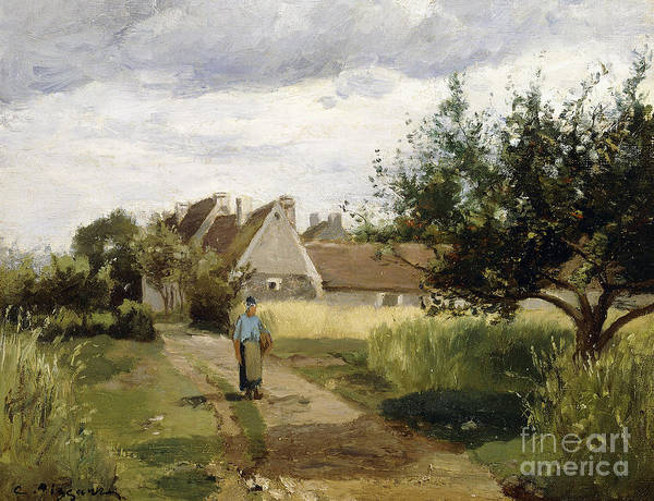 Wall Art - Painting - Entrance Of A Village by Camille Pissarro