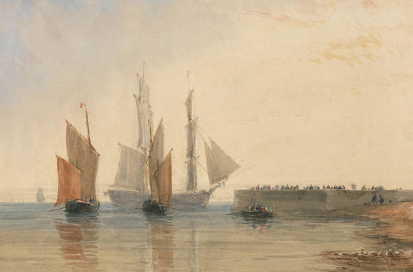 Painting - Entrance To Calais Harbour by David Cox