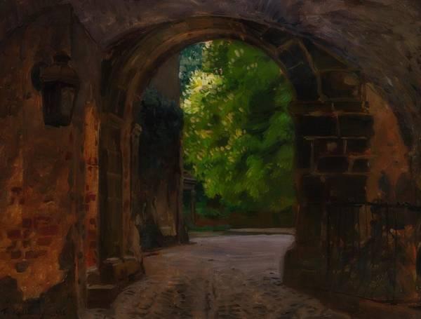 Gateway Arch Painting - Entrance To The Castle Wiesenburg In The Mark by Friedrich Kallmorgen