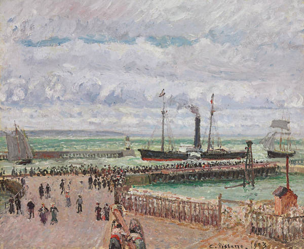 Wall Art - Painting - Entrance To The Port Of Le Havre And The West Breakwaters by Camille Pissarro