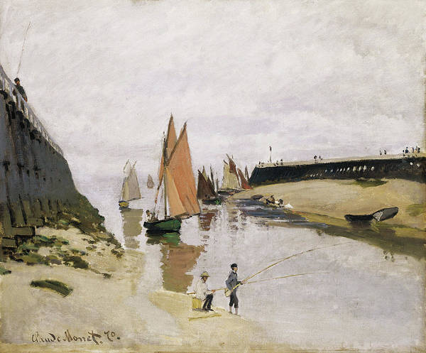 Angler Art Painting - Entrance To The Port Of Trouville 1870 by Claude Monet