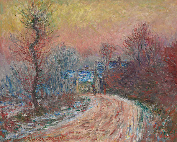 Bend Painting - Entry To Giverny In Winter  Sunset by Claude Monet