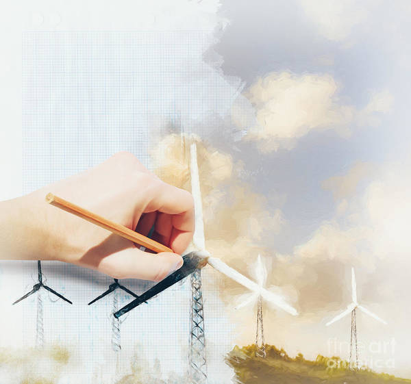 Wind Generators Photograph - Environment Engineer Drafting Sustainable Design by Jorgo Photography - Wall Art Gallery