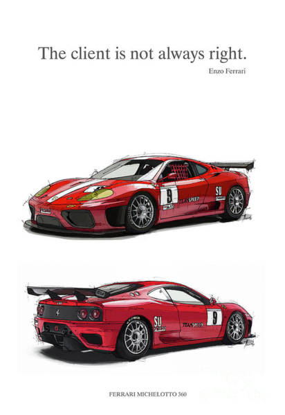 Are Digital Art - Enzo Ferrari Quote. The Client Is Not Always Right. Handmade Drawing by Drawspots Illustrations