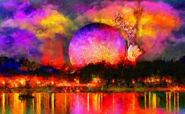 Digital Art - Epcot Colors By Night by Caito Junqueira