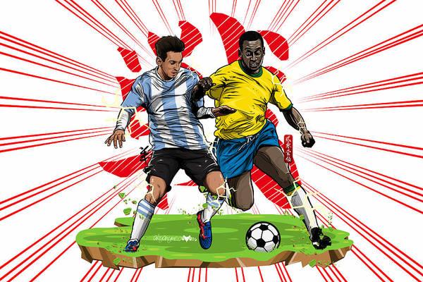 Pele Digital Art - Epic Battle The King Vs The Legend  by Akyanyme
