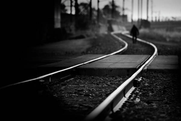 Rail Crossing Photograph - Epic Journey Of The Unknown Man by Matthew Blum