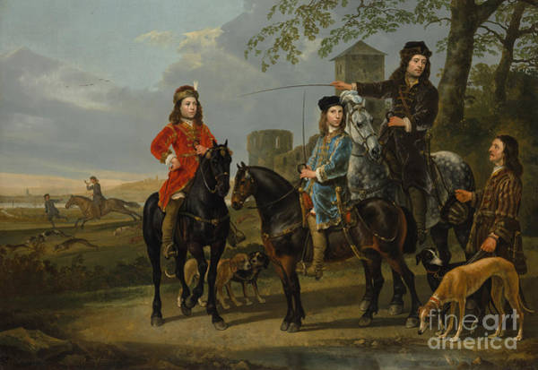 Cuyp Wall Art - Painting - Equestrian Portrait Of Cornelis And Michiel Pompe Van Meerdervoort With Their Tutor And Coachman, St by Aelbert Cuyp