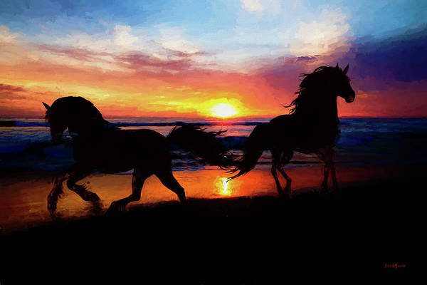 Painting - Equine Exercise On The Beach - Painting by Ericamaxine Price