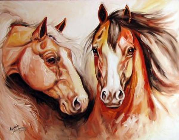 Painting - Equine Power By M Baldwin A Spirit Horse Original by Marcia Baldwin