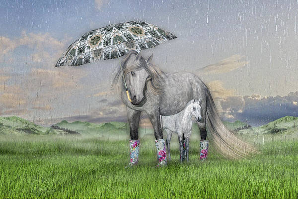 Dapple Digital Art - Equine Sleepy Spring Showers by Betsy Knapp