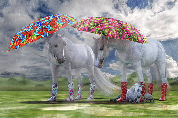 Wall Art - Digital Art - Equine Spring Showers by Betsy Knapp