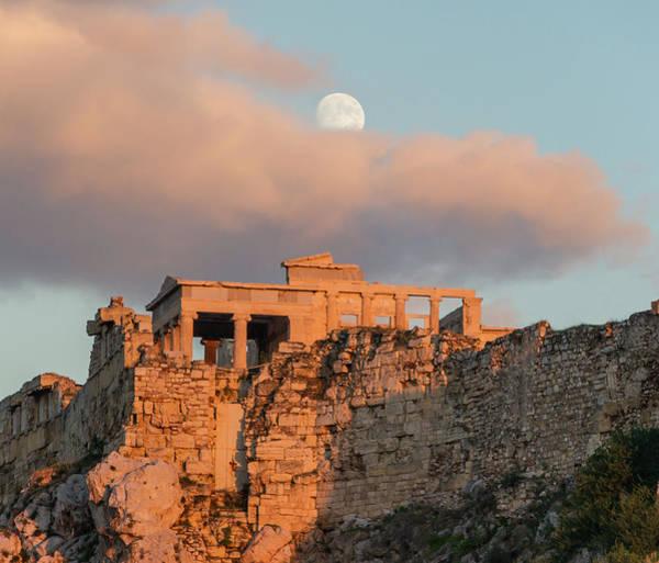 Painting - Erechtheum Acropolis Athens Evening Moon by Jebulon