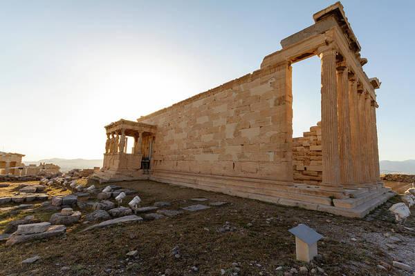 Stone Wall Art - Photograph - Erechtheum Temple Ruins On The Acropolis In Athens, Greece- Clos by Iordanis Pallikaras