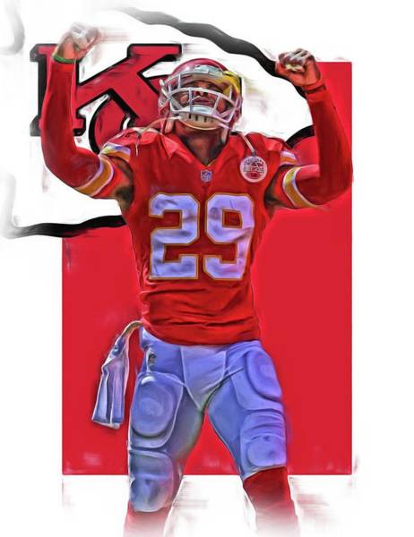 Super Bowl Mixed Media - Eric Berry Kansas City Chiefs Oil Art by Joe Hamilton