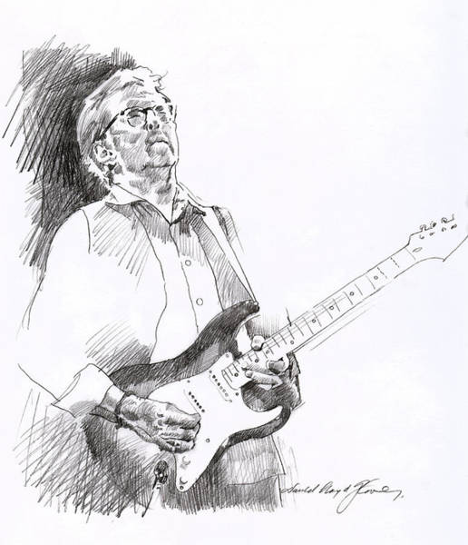 Wall Art - Drawing - Eric Clapton Joy by David Lloyd Glover