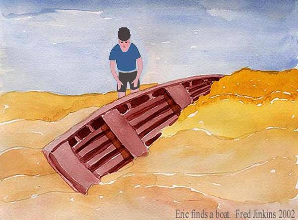 Buried Painting - Eric Finds A Boat by Fred Jinkins