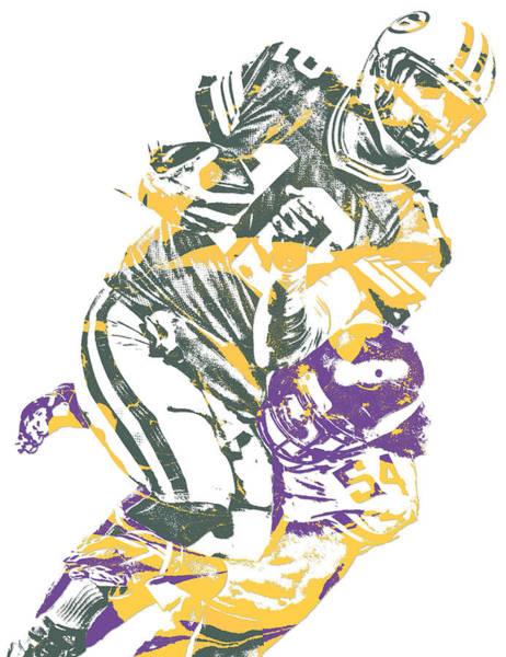 Wall Art - Mixed Media - Eric Kendricks Minnesota Vikings Pixel Art 1 by Joe Hamilton