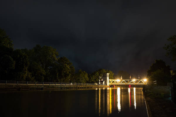 Photograph - Erie Canal Lift Bridge At Night by Chris Bordeleau