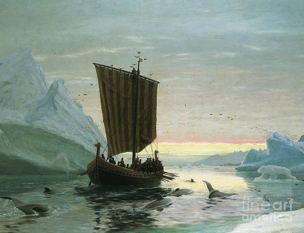 Wall Art - Painting - Erik Rode Discovers Greenland by JE Carl Rasmussen