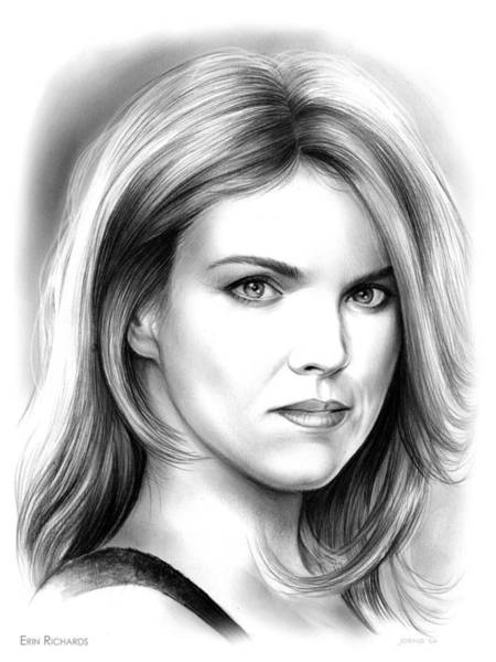 Actress Drawing - Erin Richards by Greg Joens